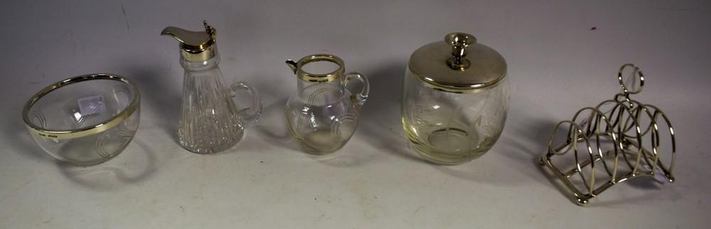 A silver mounted whisky noggin, Birmingham 2000; a silver mounted cream and sugar bowl,