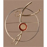 DOROTHY HOGG (born 1945); an 'Artery' brooch, silver and coral, diameter 11.5cm (max).