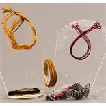 PETER COLLINGWOOD (1922-2008); five adjustable braided bangles, two zig-zag, two oval and another (