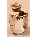 VICKI AMBERY-SMITH (born 1955); a hallmarked silver and yellow gold architectural inspired ring,