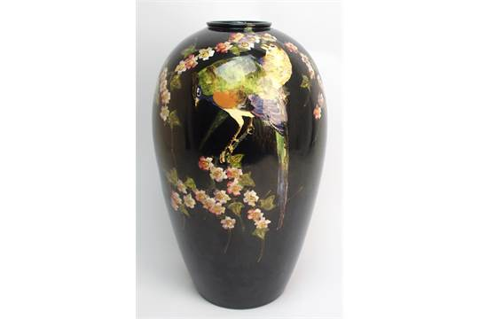 A Bretby Pottery Oviform Vase Printed And Painted With 39