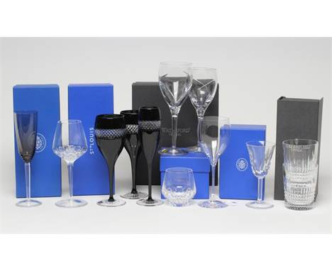 """A COLLECTION OF ST. LOUIS GLASS TABLEWARE including a matching tumbler and red wine, a """"Cerdagne"""" small wine, and an Oxymore"""