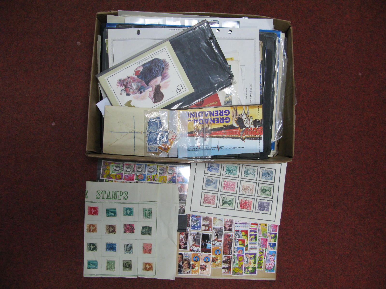 Lot 54 - A Small Carton Containing Mainly Used Accumulation of All World Stamps, on sheets, album pages and