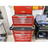 LOT: Rolling Double Stack Tool Boxes with Large Quantity of Hand Tools