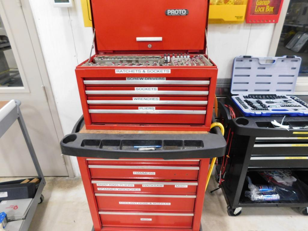 Lot 548 - LOT: Rolling Double Stack Tool Boxes with Large Quantity of Hand Tools