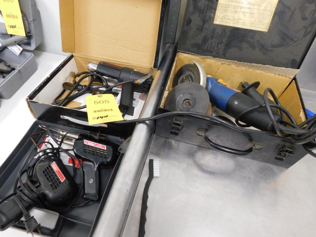 Lot 505 - LOT: Grinder, Heat Gun, (2) Soldering Guns