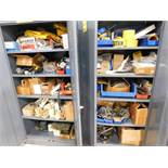 LOT: (2) Steel Cabinets with Assorted Electrical Supplies
