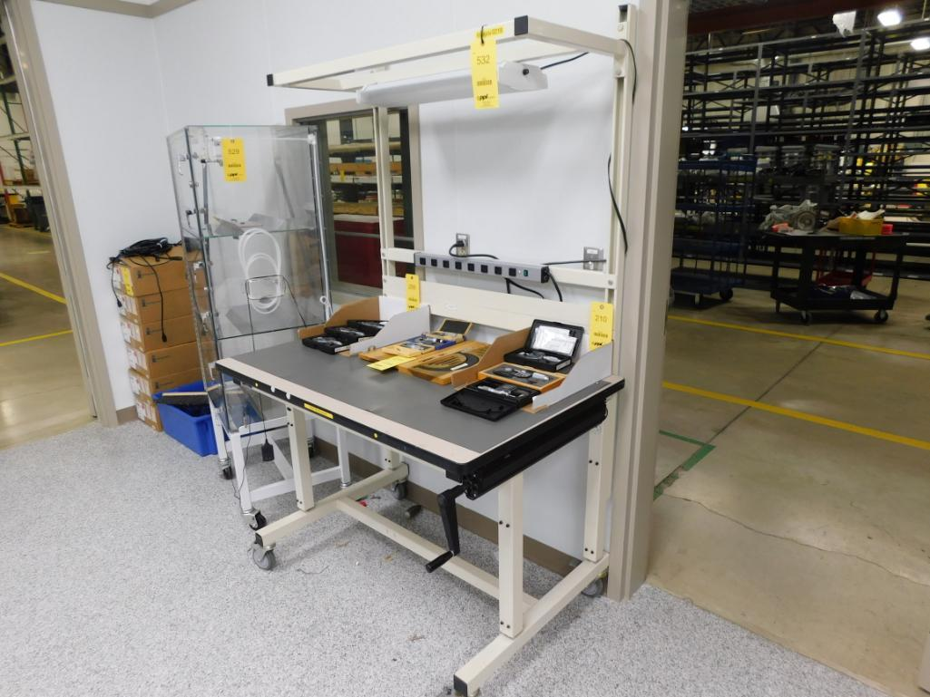Lot 532 - 30 in. x 48 in. Rolling Adjustable Work Station with Overhead Light
