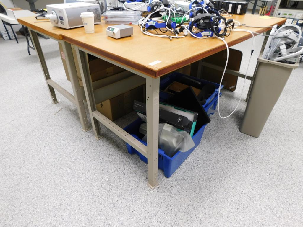LOT: (2) 36 in. x 72 in. Wood Top Work Benches (delay removal)
