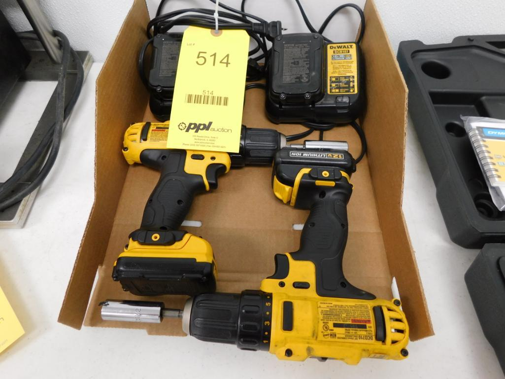 LOT: (2) Dewalt Cordless Drills, with Batteries & Chargers