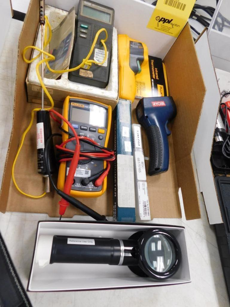 LOT: Assorted Electrical Volt Meters & Thermometers
