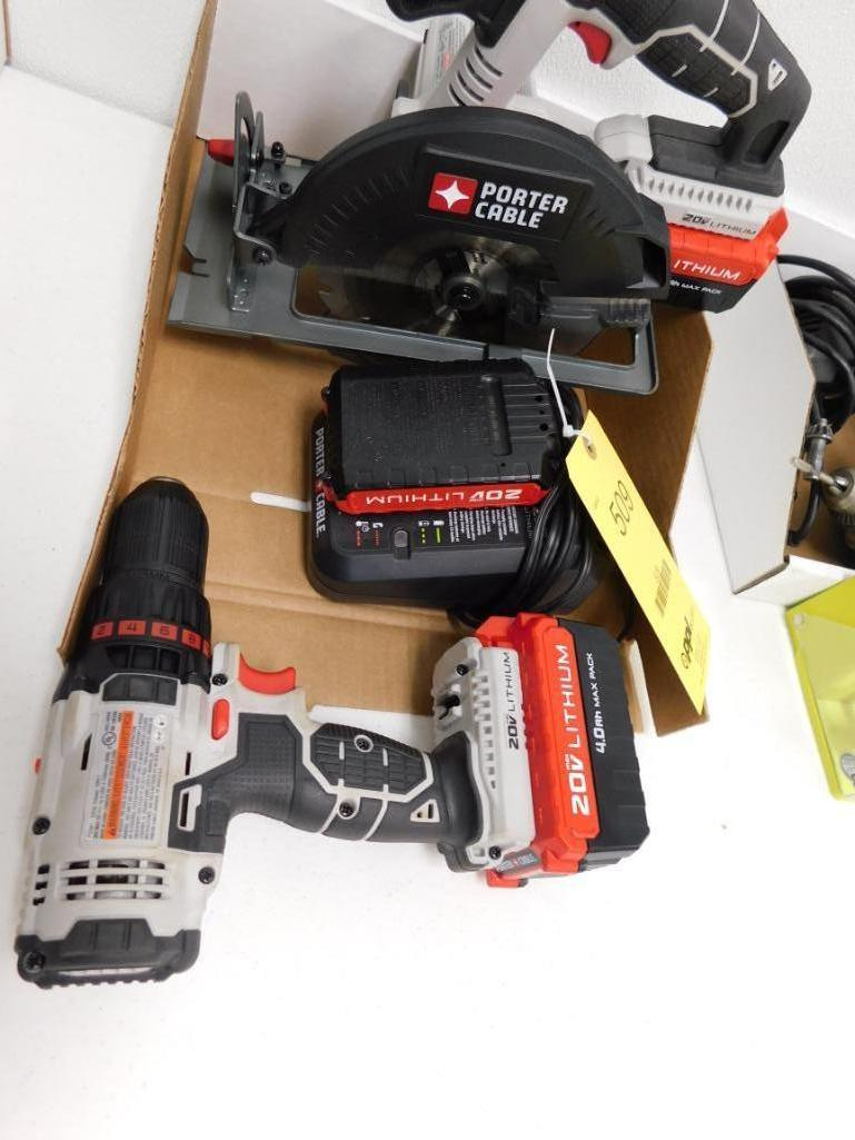 LOT: Porter Cable 20 Volt Lithion Cordless Drill & Circular Saw, with Batteries & Charger