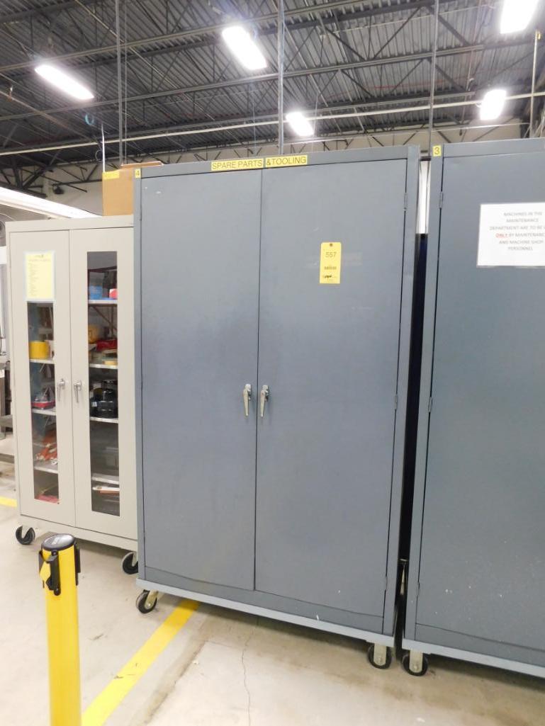 LOT: Rolling Steel Cabinet with Contents of Machine Parts & Gauge Fixtures
