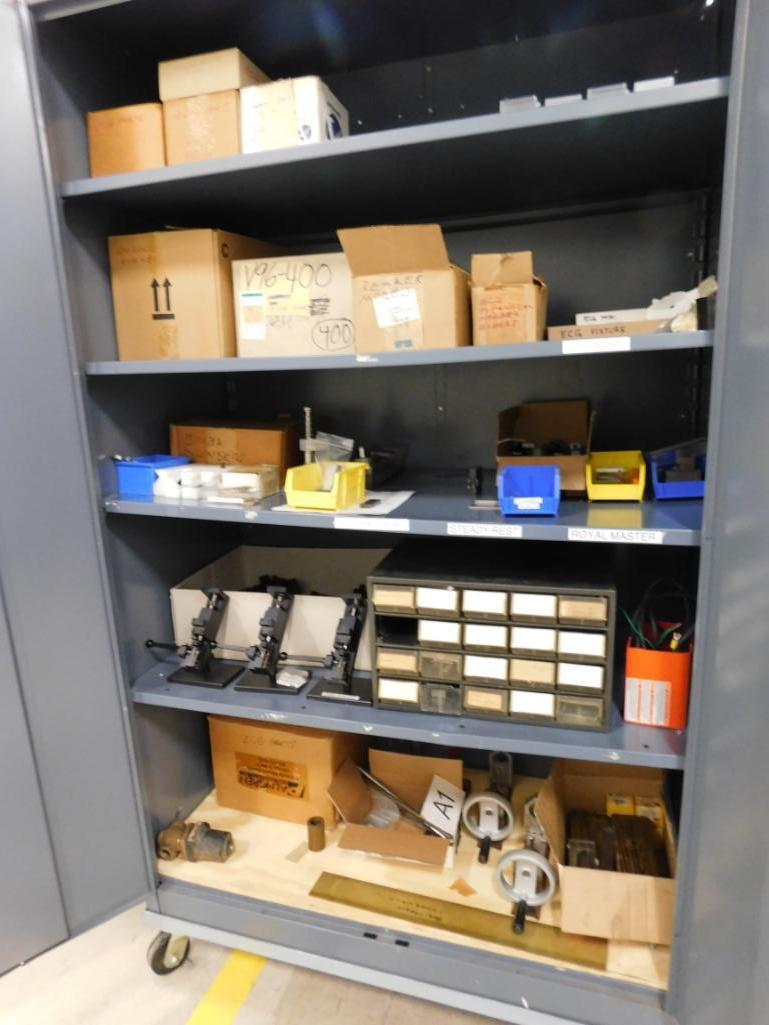 LOT: Rolling Steel Cabinet with Contents of Machine Parts & Gauge Fixtures - Image 2 of 2