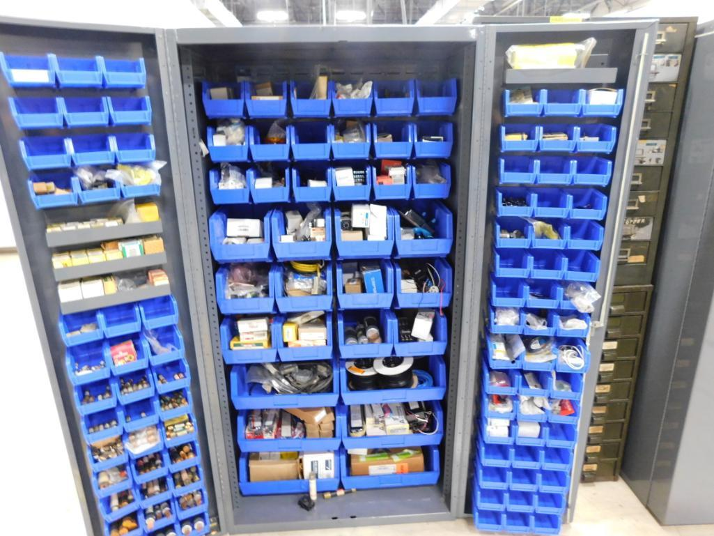 Lot 553 - LOT: Heavy Duty Lockable Steel Bin Cabinet with Large Quantity of Fuses, Switches, Electrical
