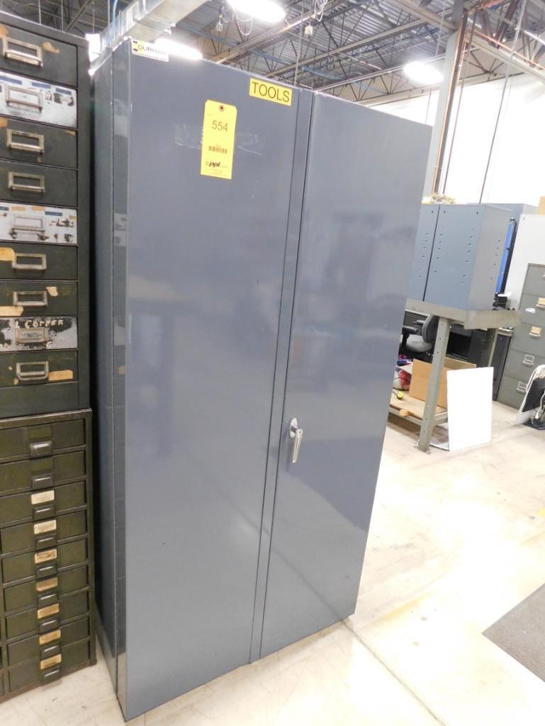 LOT: Heavy Duty Lockable Steel Cabinet with Contents of Assorted Tools, Hardware, etc.