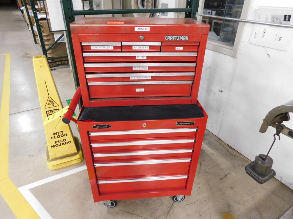 LOT: Rolling Double Stack Tool Boxes with Assorted Hand Tools