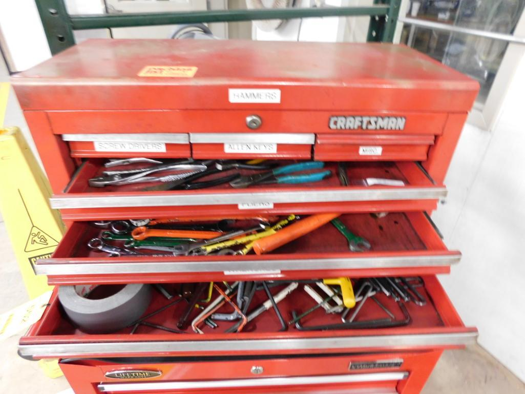 Lot 552 - LOT: Rolling Double Stack Tool Boxes with Assorted Hand Tools