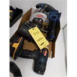 LOT: Ryobi 18 Volt Cordless Circular Saw & (2) Drills, with Battery & Charger