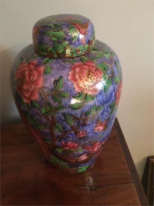 Lot 46 - Wedgwood Fairyland Lustre Argus Pheasant lidded vase by Daisy Makeig-Jones c1920
