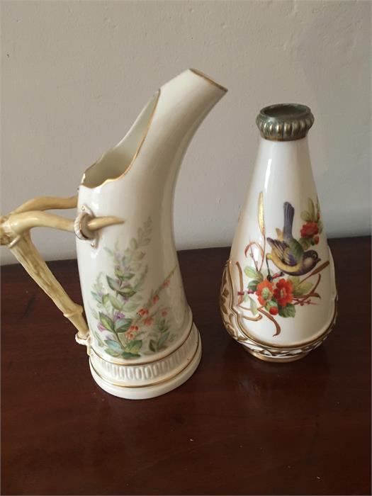 Lot 53 - Royal Worcester ewer and a bird decorated vase tallest 19cms