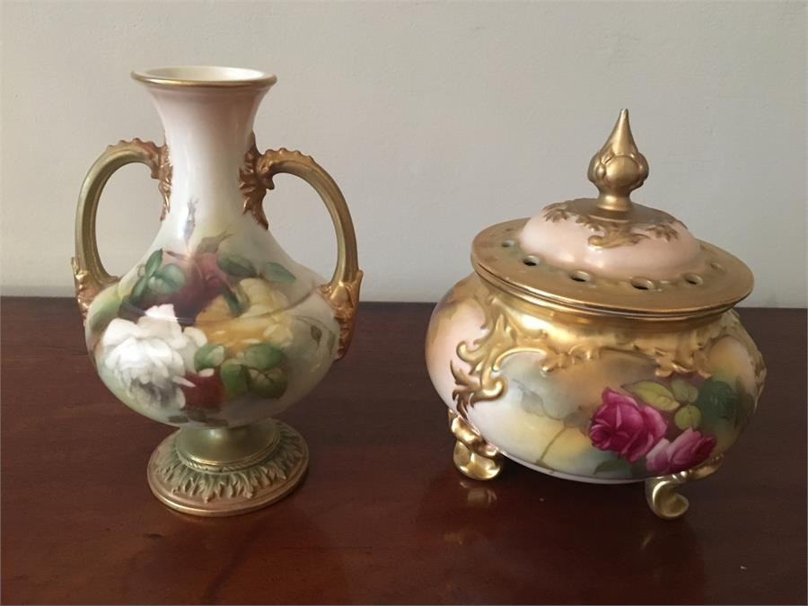 Lot 55 - Royal Worcester pot pourri and a vase