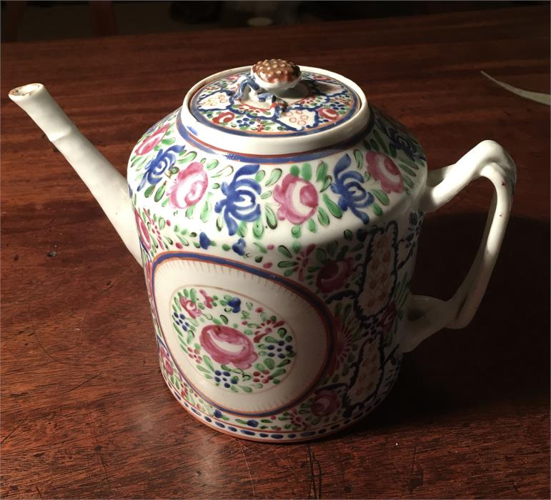 Lot 2 - Eraly 19th c Chinese famille rose teapot with strawberry finial