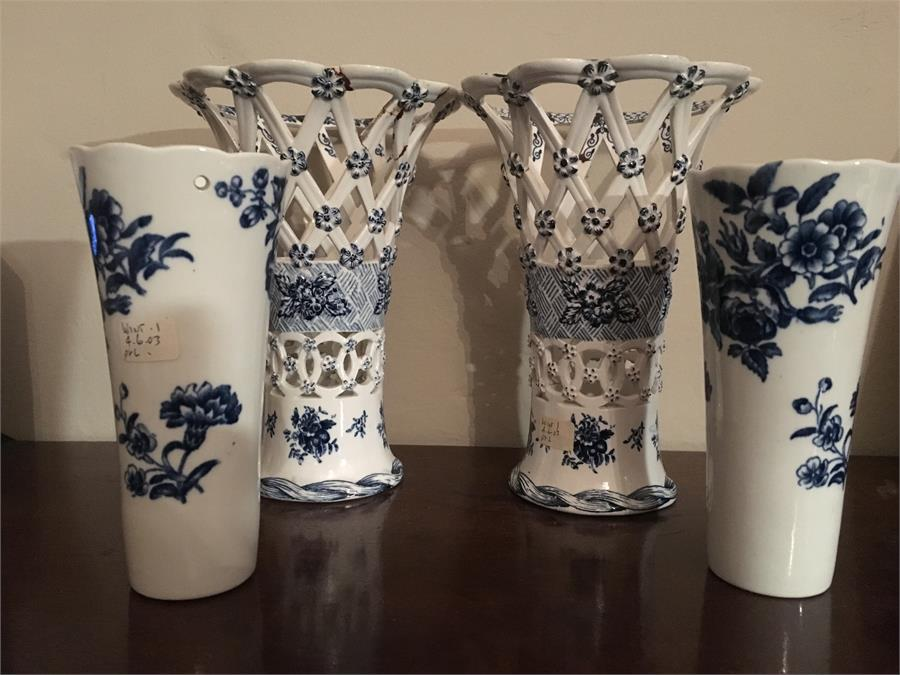 Lot 25 - Pair 18th c blue and white basket ware vases a/f with 2 small flute vases