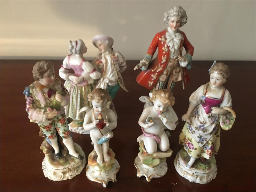 Lot 10 - Six miniature continental porcelain figures some a/f