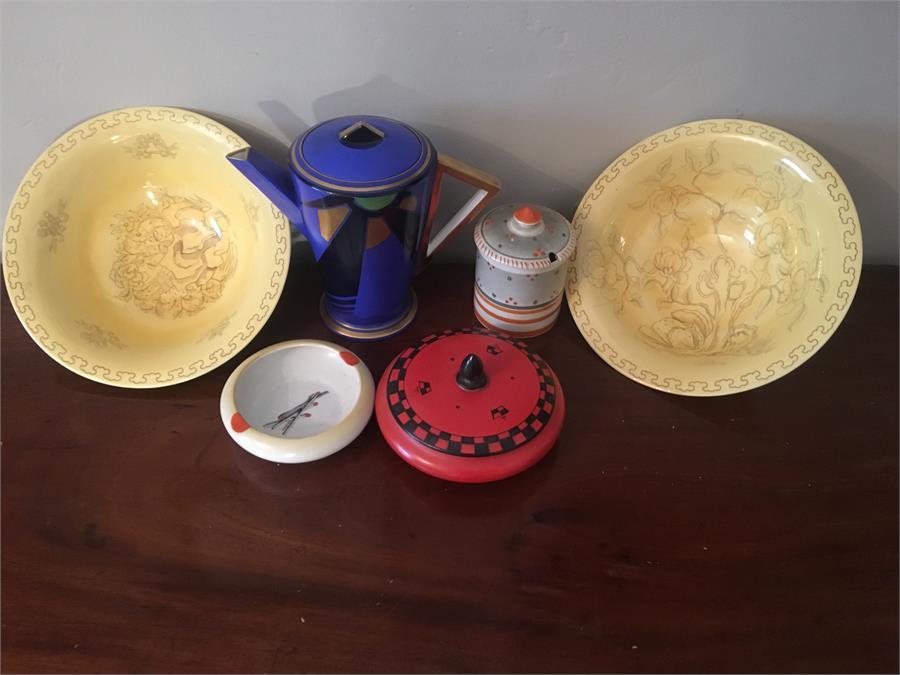 """Lot 32 - Art Deco Shelley porcelain inc. cobalt blue """"Mode"""" pattern coffee pot etc."""