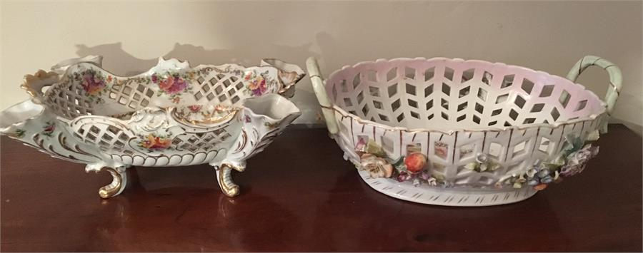 Lot 41 - Two late 19th c continental porcelain baskets largest 34 cms