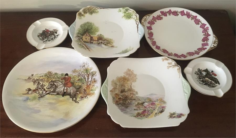 Lot 29 - Shelley cake plates Vine, Old Mill and Leather with 1 hunting pattern plate and 2 ashtrays