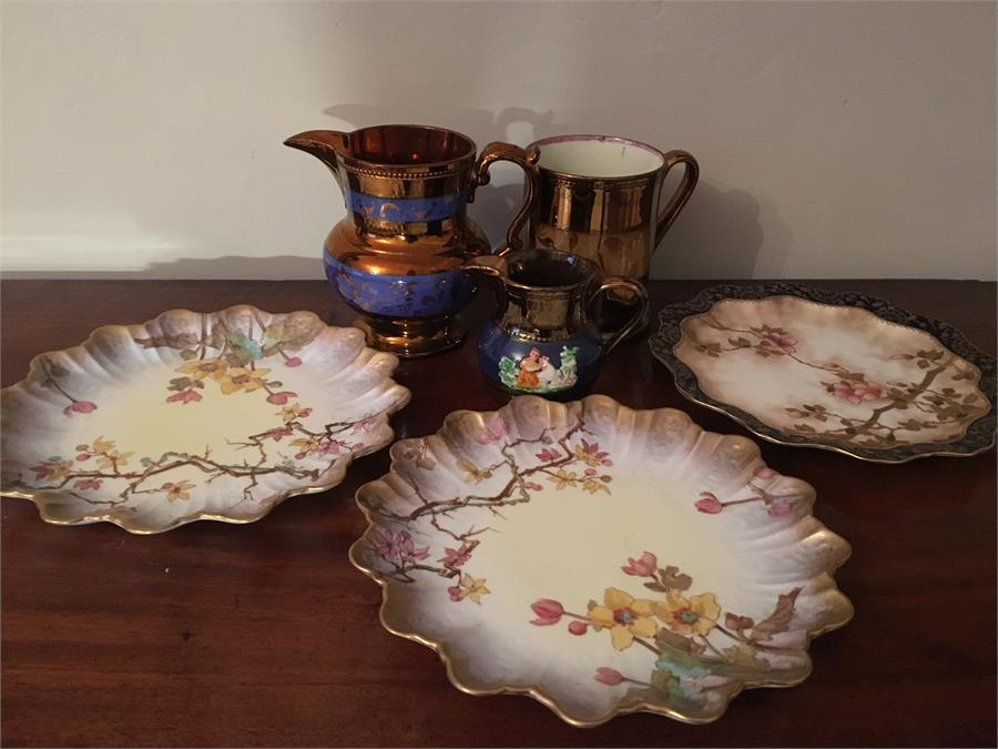 Lot 42 - Three 19th c lustre jugs and 3 Doulton plates