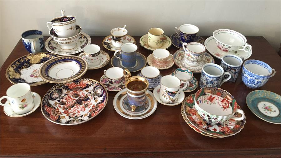 Lot 45 - Selection porcelain cups and saucers of various vintages