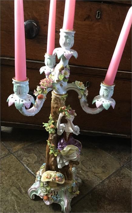 Lot 19 - Meissen porcelain candelabra c1900