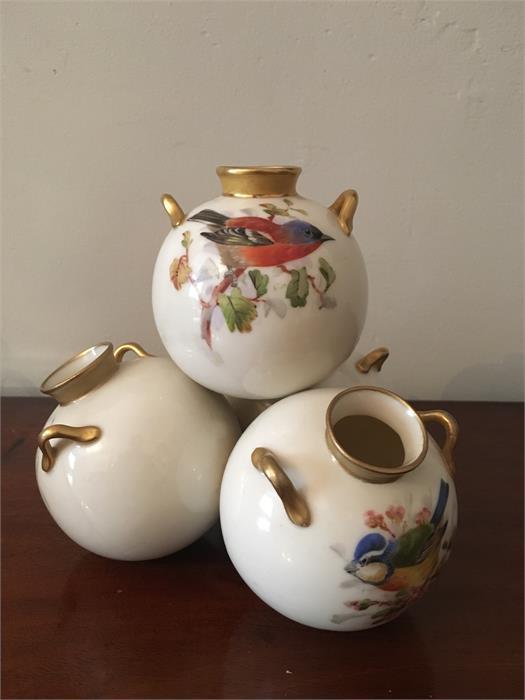 Lot 54 - Royal Worcester vase bird decorated