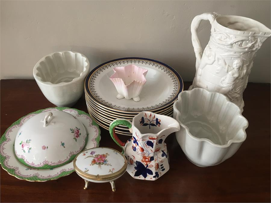 Lot 44 - Ceramics inc. jelly mould, jugs and muffin dish etc.