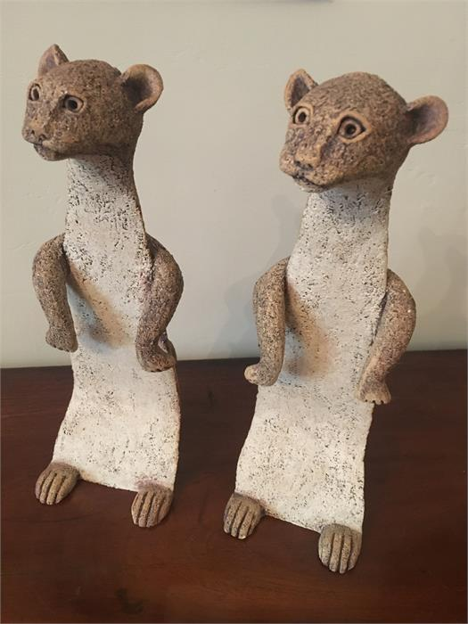 Lot 21 - Pair of stoat figures by Libby Edmondson