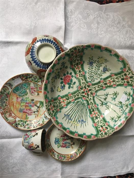 Lot 18 - Chinese famille rose 19th c trio, a plate and a bowl all a/f
