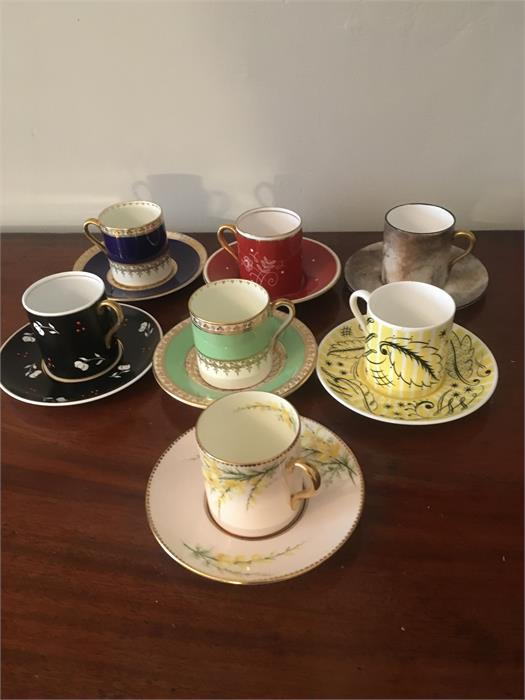 Lot 30 - Seven superb Shelley Mocha Demitasse coffee cans and saucers inc. signed A Taylor. 1 cracked