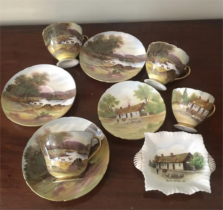 Lot 35 - A Burns Cottage cup and saucer + 3 other similar etc.