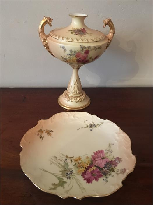 Lot 48 - Royal Worcester blush vase and plate