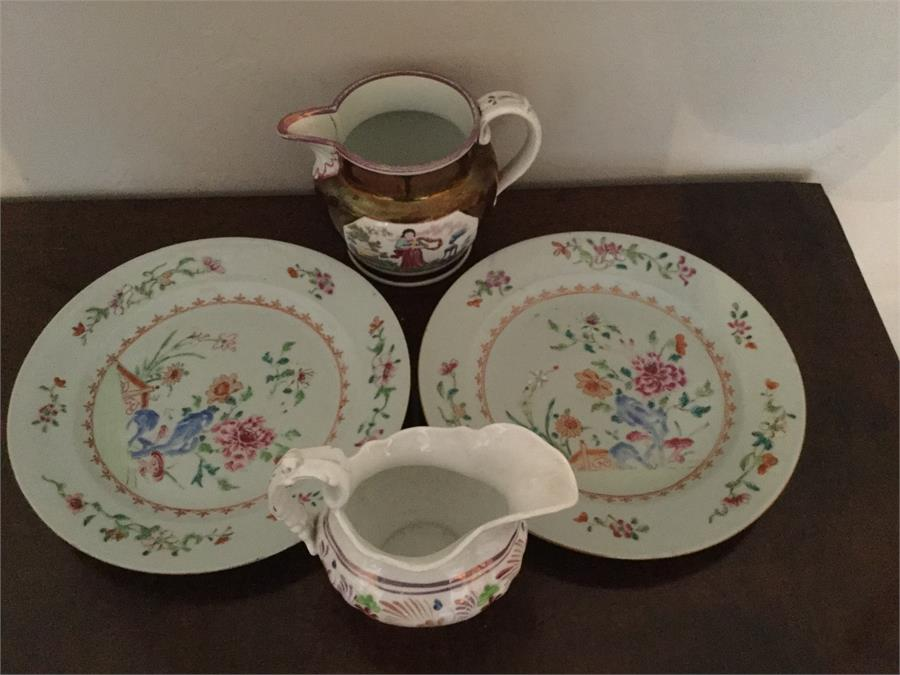 Lot 4 - Two Chinese porcelain plates and 2 19th c pottery jugs