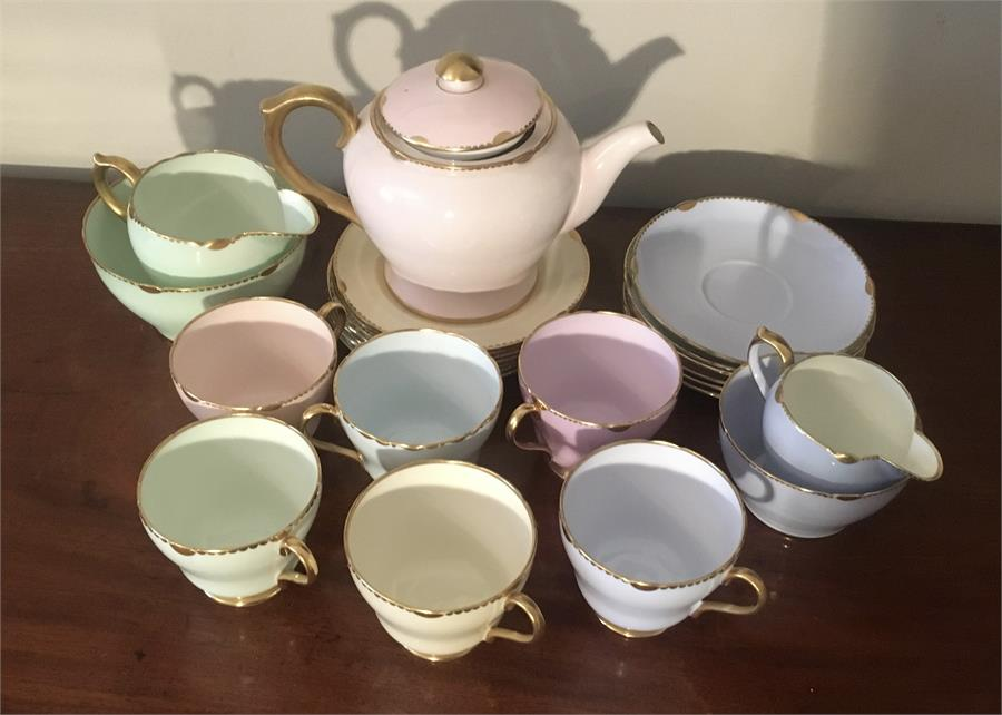 Lot 33 - Shelley part tea service in various pastel shades ex. John Heron