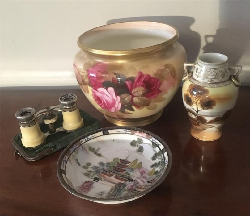 Lot 47 - Royal Worceter bowl painted with roses by Sedgley with 2 Noritake pcs. and pair opera glasses