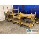 (LOT) PORTABLE STACKING RACK CARTS, (4) DOLLIES APPROX. (7) ADDITIONAL RACKS