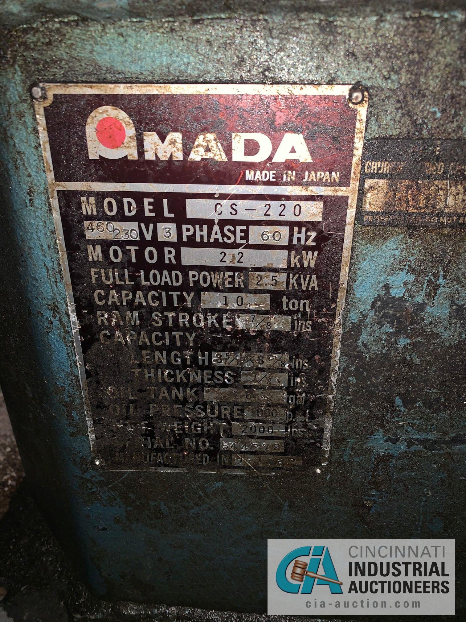 "9"" X 9"" AMADA CS-220 HYDRAULIC NOTCHER; S/N S44278, 7/8"" STROKE, 10 TON, 1/8"" THICK - Image 9 of 9"