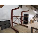 """FABRICATED STEEL CANTILEVER RACKS IN PARTS WAREHOUSE, APPROX. 90"""" HIGH X 75"""" WIDE X 44"""" ARM"""