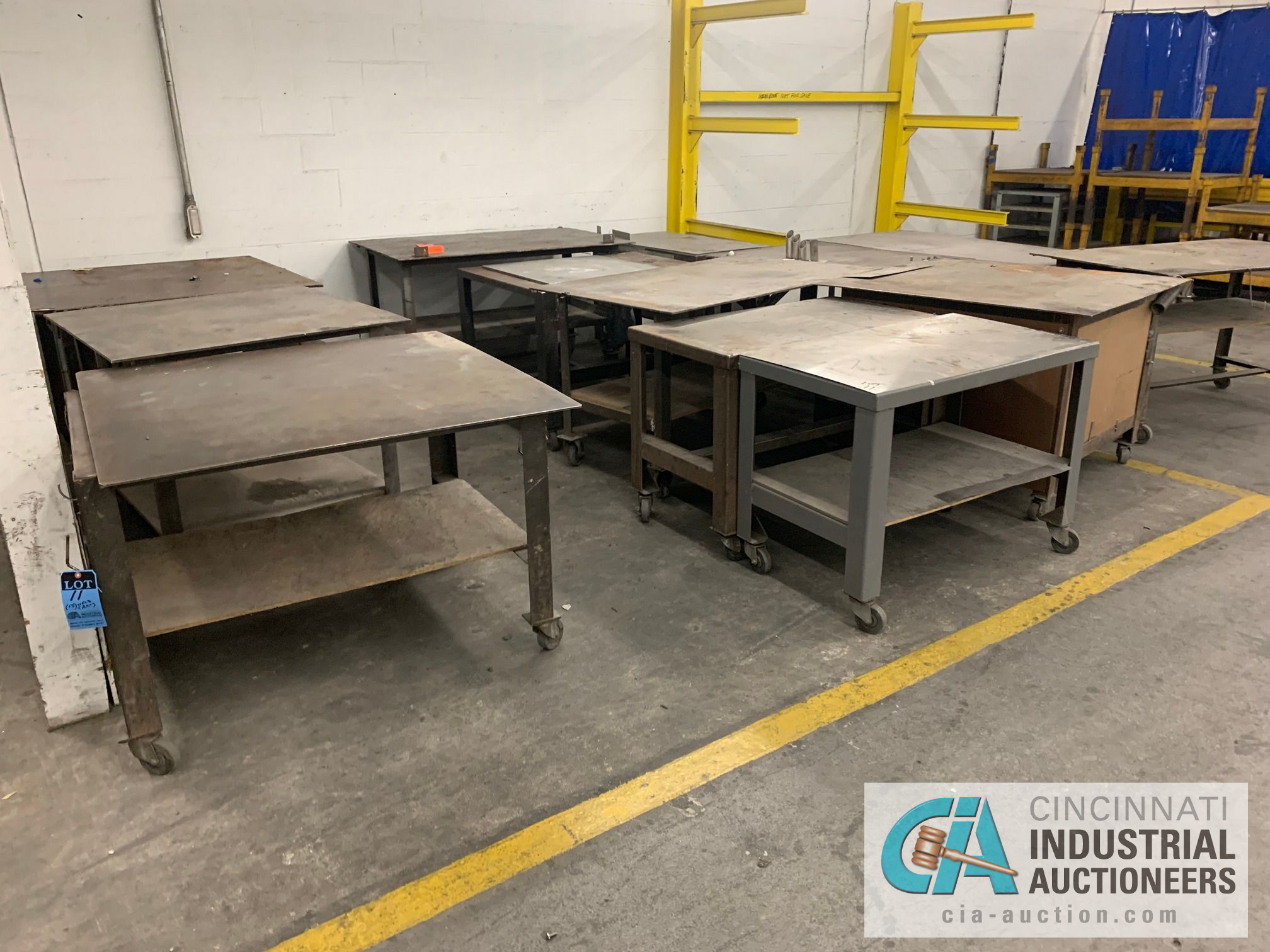 VARIOUS HEAVY DUTY CARTS, SOME SET-UP TO BE HEAVY WELD TABLES