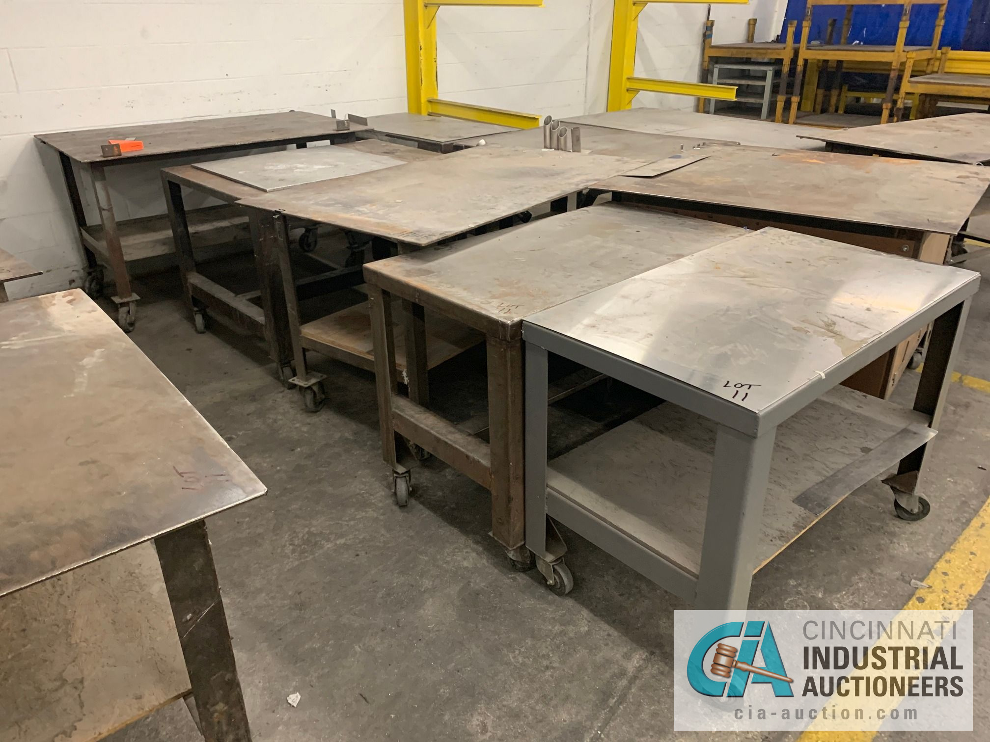 VARIOUS HEAVY DUTY CARTS, SOME SET-UP TO BE HEAVY WELD TABLES - Image 3 of 5